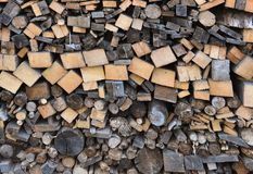 Stack of wood with different fuelwood stock photos