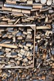 Stack of wood with different fuelwood stock images
