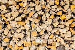 Stack of wood. Or firewood, hacked trunks Stock Images