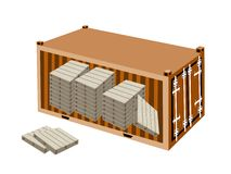 A Stack of Wood Pallets in Cargo Container Royalty Free Stock Image