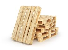 Stack of wood pallets isolated on a white. 3d. Illustration Stock Photos