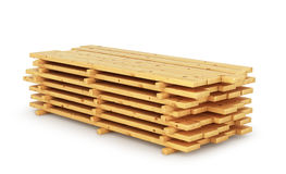 Stack wood plank isolated on white background. 3D illustration Stock Photography