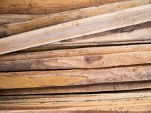 Stack of wood plank. Stack of teak wood plank background Stock Photos