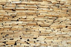 Stack of wood planks. On lumber yard Royalty Free Stock Photos