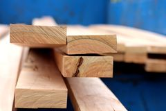 Stack of wood planks for construction royalty free stock photos