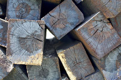 A  stack of wood sleeper close-up. A pile of wood sleepers close-up Royalty Free Stock Images