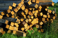 Stack of wood veneer lumber Stock Photos