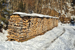 Stack of wood in winter time Royalty Free Stock Image