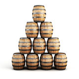 Stack of wooden barrels Stock Photo