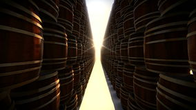 Stack of wooden barrels in storage stock video footage