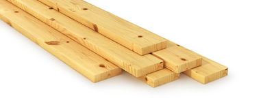 Stack of wooden bars. 3d illustration Stock Photography
