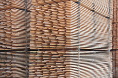 Stack of wooden boards. Stored outdoor Stock Photos