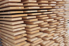 Stack of wooden boards. Stored outdoor Royalty Free Stock Images