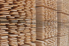 Stack of wooden boards. Stored outdoor Royalty Free Stock Photo