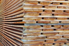 Stack of wooden boards. Stored outdoor Stock Images