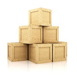 Stack of wooden boxes. Isolated on white background Stock Photos