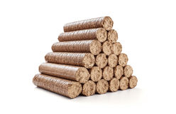 Stack wooden briquettes Royalty Free Stock Photos