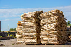 Stack of Wooden Fence Posts. Close Up Royalty Free Stock Photography