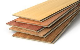 Stack of wooden laminate parquet. On a white background, 3d illustration Stock Photography