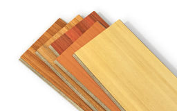 Stack of wooden laminate parquet. On a white background, 3d illustration Royalty Free Stock Images