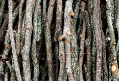 Stack of wooden logs for decor background stock image
