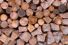 A stack of wooden logs sits awaiting use as firewood stock photos