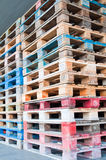 Stack of wooden palettes. Stack of Multicolored wooden palettes Stock Image