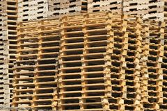 A stack of wooden pallets Royalty Free Stock Photos
