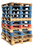 Stack of wooden pallets. stock image