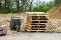 Stack of wooden pallets Barrow Royalty Free Stock Photography