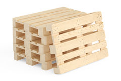Stack of wooden pallets, 3D rendering Stock Images