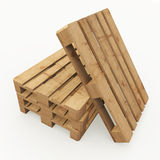 Stack of wooden pallets. Three wooden pallets stacked and one based on them Royalty Free Stock Image