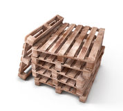 Stack of wooden pallets  on white background Royalty Free Stock Image