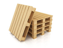 Stack of wooden pallets. On white background. 3d rendering illustration Royalty Free Stock Image