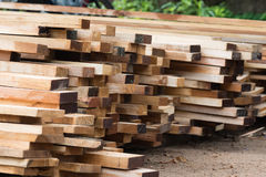 Stack of wooden plank. Raw wooden plank for construction work Royalty Free Stock Photos