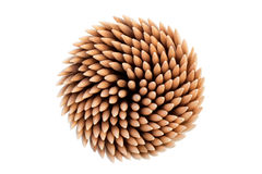 Stack of wooden toothpicks viewed from above Stock Image
