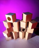 Stack of wooden toy bricks Stock Images