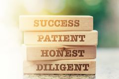 Stack of the wooden toy with word about success, business and ma stock image
