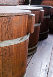 Stack of wooden tub with cover Stock Photography