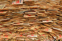 A stack of wooden wishing plaques, preyer tablets Royalty Free Stock Image