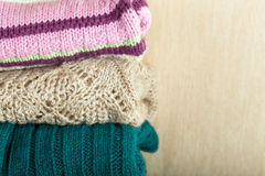 Stack of wool knitted sweaters Royalty Free Stock Image