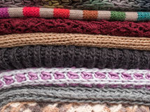 Stack of woolen clothes. Stack of knitted woolen clothes stock image