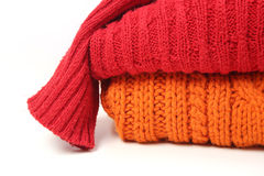 Stack woolen kläder Royaltyfri Foto