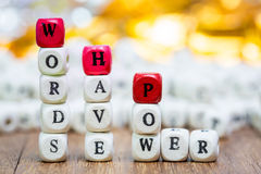 Stack of Words have power dice puzzle Stock Image