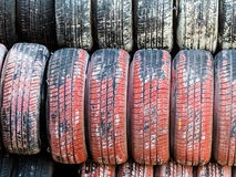 Stack of worn car tires Royalty Free Stock Photo