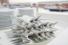 Stack of wrapped cutlery Royalty Free Stock Photo