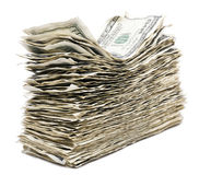 Isolated Wrinkled 100 US$ Bills Stack Stock Images