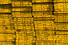 Stack of the yellow concrete formwork steel. stock images