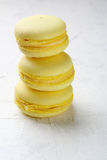 Stack yellow french macaroons Royalty Free Stock Photos