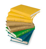 Stack of yellow, green and blue books Stock Photos